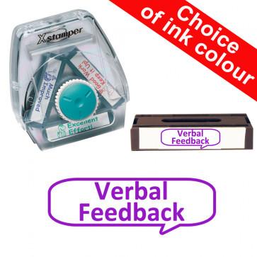 School Stamps | Verbal Feedback, Large Speech Balloon. Xstamper 3-in-1 Twist Stamp