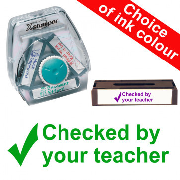 School Stamps | Checked by your teacher (Tick image) Xstamper 3-in-1 Twist Stamp.