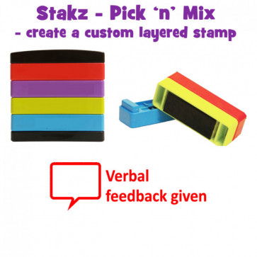 Teacher Stamps | Verbal feedback given Pick'n'Mix Stakz Layer Multi Stamp.