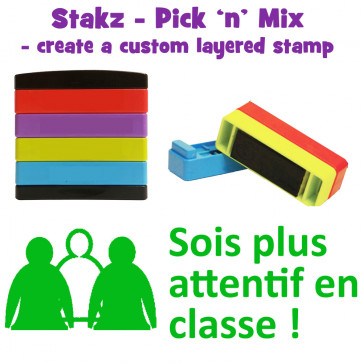 Teacher Stamps | Sois plus attentif en classe ! Pick'n'Mix Stakz Layered French Multistamp