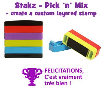 Teacher Stamps | FELICITATIONS, C'est vraiment très bien ! Pick'n'Mix Stakz Layered French Multistamp