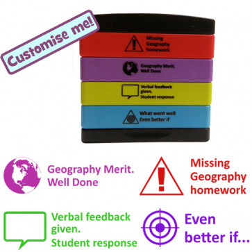 Teacher Stamps | 4-in-1 Feedback Marking Stamp - Missing geography homework, Geography Merit, Verbal feedback given, Student response, What went well / Even better if