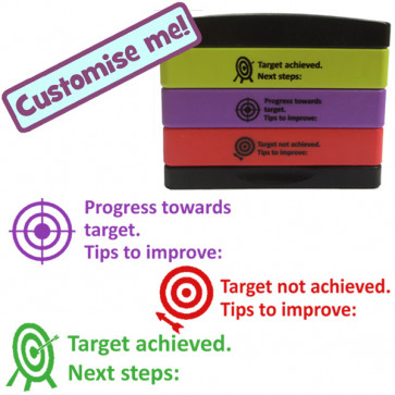 Teacher Stamp | Progress towards target, Target not achieved, Tips to improve, Target Achieved. Next Steps