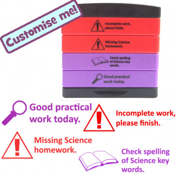 Science stamp: Incomplete work, Missing science homework, Check spelling science keywords, Good practical work.