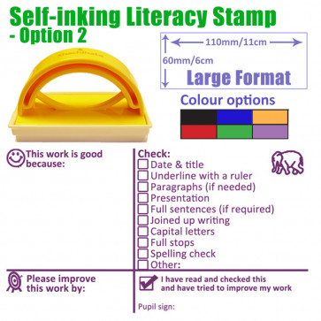 Teacher Stamper | Key Stage 2 & 3 Literacy Feedback with Checklist Targets Comprehensive Marking Stamp -  Purple Ink