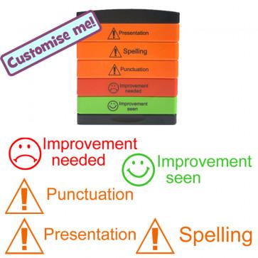 School Stamps | Warning Presentation, Spelling, Punctuation, Improvement Needed, Improvement Seen