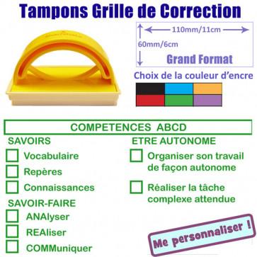 Tampons encreurs   Réactions et Évaluation Rédaction - Grand Format 5x5cm - Competences ABCD