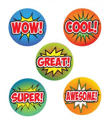 School Stickers | WOW!, COOL!, POW!, SUPER!, KA-POW! Comic Pop Art Stickers