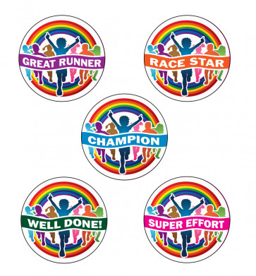 School Stickers | Rainbow Runners Participant Sports Stickers