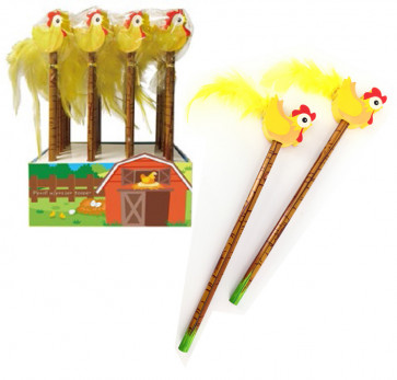 Party Bags | 24 x Cute Chirpy Chicken Topper Pencils-Ideal for Easter.
