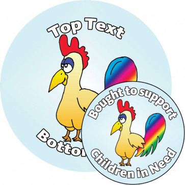 Personalised Stickers for Kids | Customise this funky chicken sticker to delight kids and support Children in Need!
