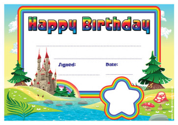Personalised Certificates & Awards for Schools | Rainbow Castle Happy Birthday Certificate - School logo custom option