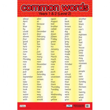School Educational Posters | Common Words Years 1 and 2 for Classroom Displays