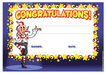 School Certificates | Congratulations! Jester fun design kids awards