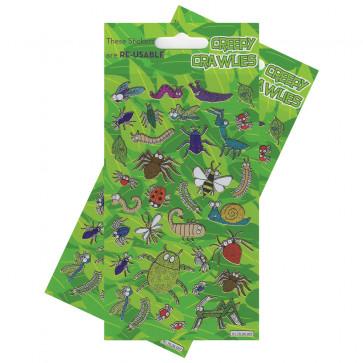 Premium Kids Stickers | Creepy Crawlies Glitter Stickers -  2 Pack Stickers Set