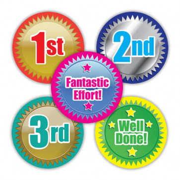 Sports Stickers   First, Second, Third Place, Well Done & Fantastic Effort