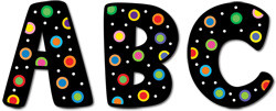 Stick-On Upper Case Letters   Dots on Black School Stickers