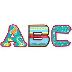 Stick-On Lowercase Letters | 62 Large Dots on Turquoise School Stickers