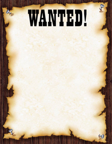 "Posters | ""Wanted"" Wild West Style Poster for Notices. Wipe-off Surface"