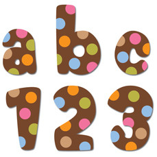 Stick-On Lowercase Letters | 2cm Dots on Chocolate Stickers