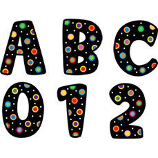 Alphabet Letter Stickers | Dots on Black - Poppin Patterns Design Uppercase Craft Stickers