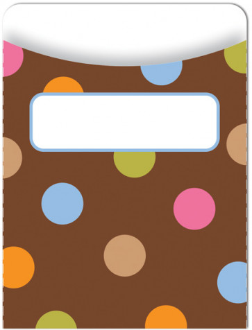 Classroom Organisation Resources | Library Pockets - Dots on Chocolate (Jumbo)