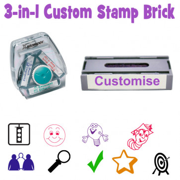 Custom School Stamp | Custom Xstamper Twist 'n Stamp / 3-in-1 Teacher Stamp Brick