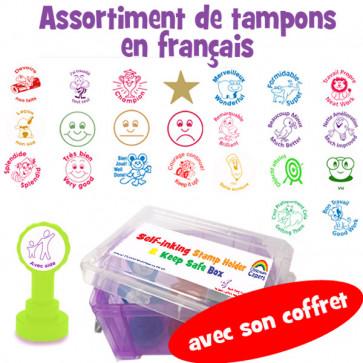 Professeur de Français, choisissez et confectionnez 6 tampons encreurs à partir d'un large choix - afin de créer votre propre boite personnalisée des tampons que vous utilisez le plus souvent.
