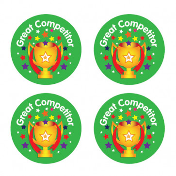 Kids Stickers | Great Competitor Trophy Design Sports Stickers