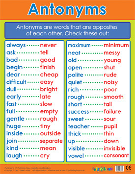 School Posters | Antonyms Literacy Reference Chart