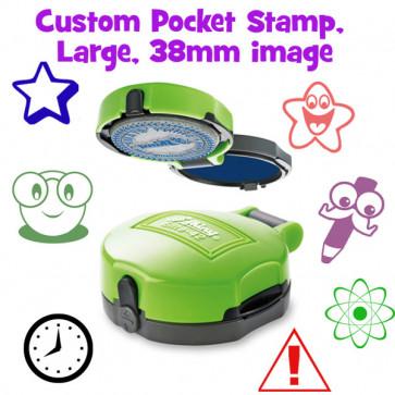 Teacher Stamp | Pocket Sized, Large Round Self-Inking Stamper