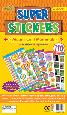 Childrens Stickers | Magnificent Mammals Variety Pack, Ideal for Crafts and School Projects