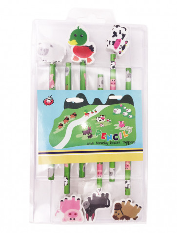Class Gifts | Farm Animals Pencils & Topper Gift Set