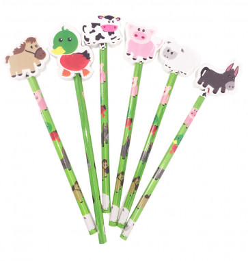 Class Gift / Pupil Presents | 12 x Farm Friends Pencils with Large Eraser Ends