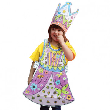 Colouring in For Kids | Eggnog Colour In Fancy Dress Outfit - Princess Design