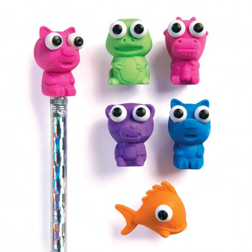 Class Gifts / Prizes | Boggle Eye Animal Eraser Pencil Toppers