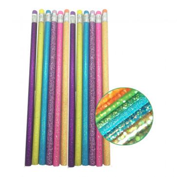 Class Gifts | 12 x Glitter Pencils. Great Class Gift / Party Bag Filler