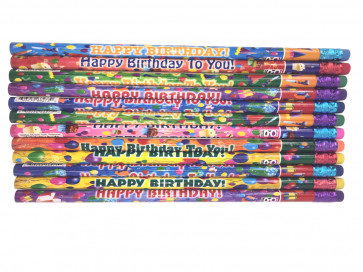 Teacher Class Gifts | Pack of 12 Colourful Happy Birthday Pencils