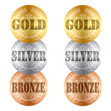Sports Day Stickers | GOLD, SILVER, BRONZE Stickers in Shiny Finish.