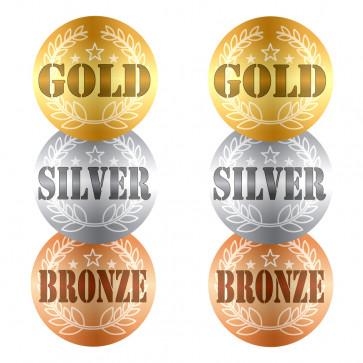 Sports Stickers | Gold, Silver, Bronze Teacher Reward Stickers