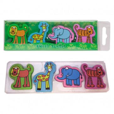 Animal Erasers | Tiger, Lion, Elephant, Lion - 4 Eraser Presentation Pack