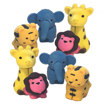 School Class Gifts | 3D Jungle Animal Novelty 3D Shape Erasers (Tiger, Lion, Elephant & Giraffe)