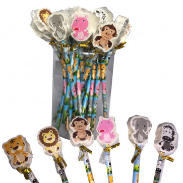 Low Cost Gifts   Bulk Pack 24 Jungle Friends Animal Pencils with Topper Erasers
