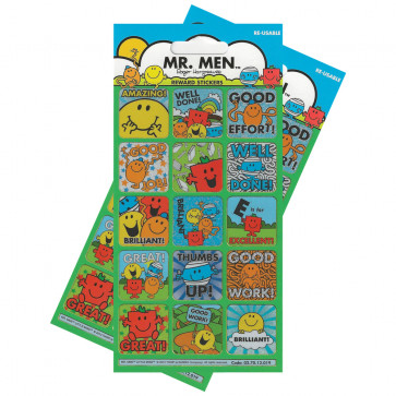 Premium Kids Stickers | Mr Men Re-usable Large Reward Stickers - 2 Packs