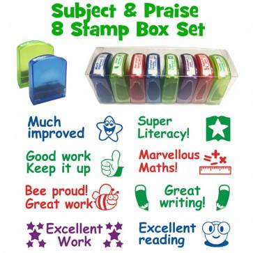 School Stamps   8 Tray Stamper Box Set