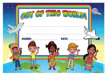 School Certificates | Out of this World! message, multi-cultural, earth design kids awards