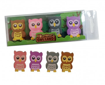 Class Gifts | Set of 4 Owl Erasers - Hoot Hoot by Owl Land