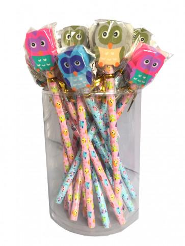 Bulk Stationery | Value Packs Cute Owl Pencils with Large Eraser Ends