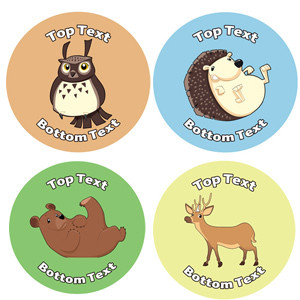 Personalised School Stickers | Woodland Animal! Design Custom Standard and Scented Stickers