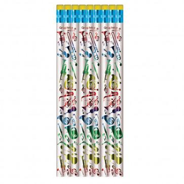 Music Pencils | Music Instrument Shiny Foil Design HB Pencils